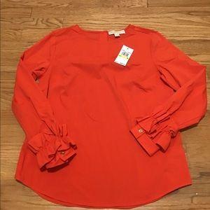 Michaels Kors Orange Ruffle Sleeve Blouse